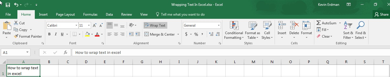 Wrapping Text in Excel I1