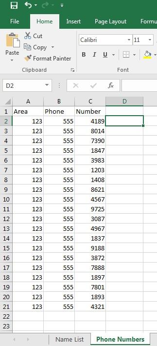 Excel CONCATENATE Image